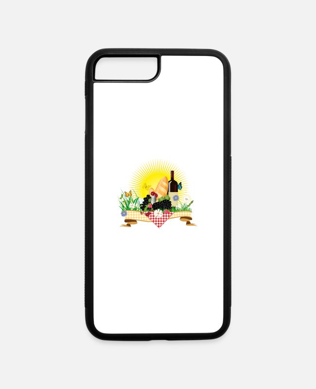 Nature iPhone Cases - Summer picnic in the countryside with goodies - iPhone 7 & 8 Plus Case white/black