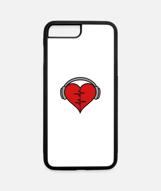 Ekg iPhone Cases - heartbeat headphones - iPhone 7 & 8 Plus Case white/black