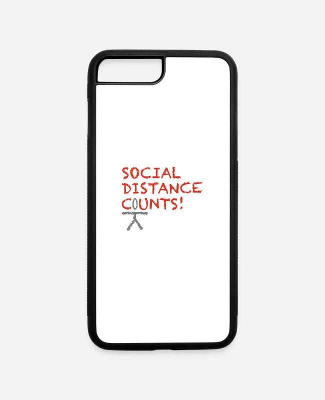 Social iPhone Cases - SOCIAL DISTANCE CoUNTS - iPhone 7 & 8 Plus Case white/black