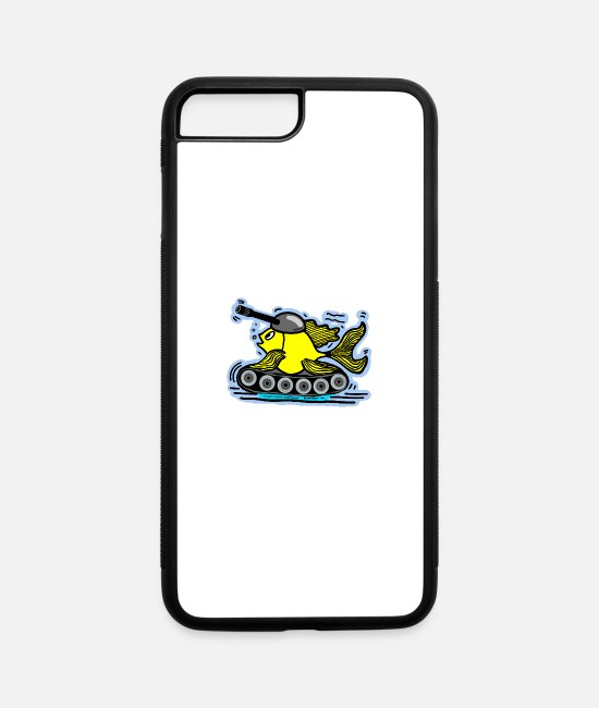 Floor iPhone Cases - Tank Fish with a cannon, sparky fabspark - iPhone 7 & 8 Plus Case white/black
