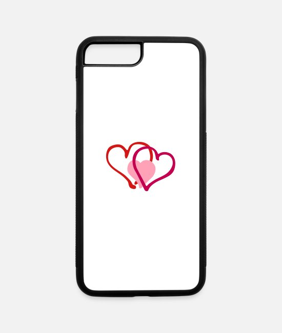 Heart iPhone Cases - Heart Hearts Love - iPhone 7 & 8 Plus Case white/black