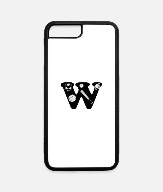 Alphabet iPhone Cases - initial W - iPhone 7 & 8 Plus Case white/black