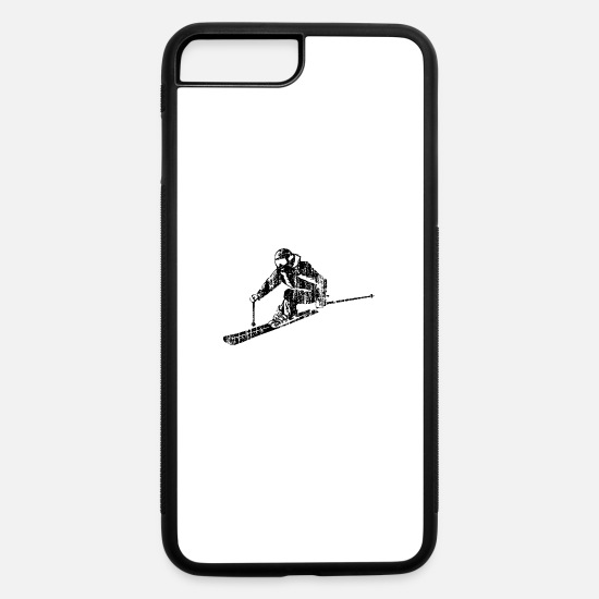 Winter Sports iPhone Cases - Skiers on the ski slopes in a sporty and fast way - iPhone 7 & 8 Plus Case white/black