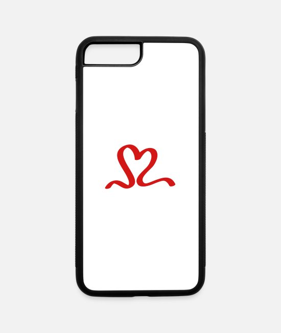 Red iPhone Cases - red heart love ribbon - iPhone 7 & 8 Plus Case white/black