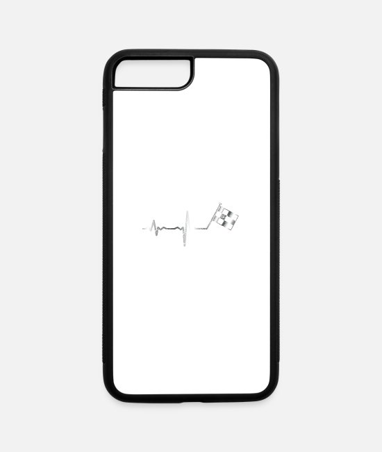 Cars iPhone Cases - Heartbeat motor sport flag - gift - iPhone 7 & 8 Plus Case white/black