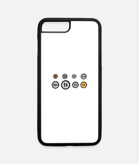 Scratch iPhone Cases - United States Coins - iPhone 7 & 8 Plus Case white/black