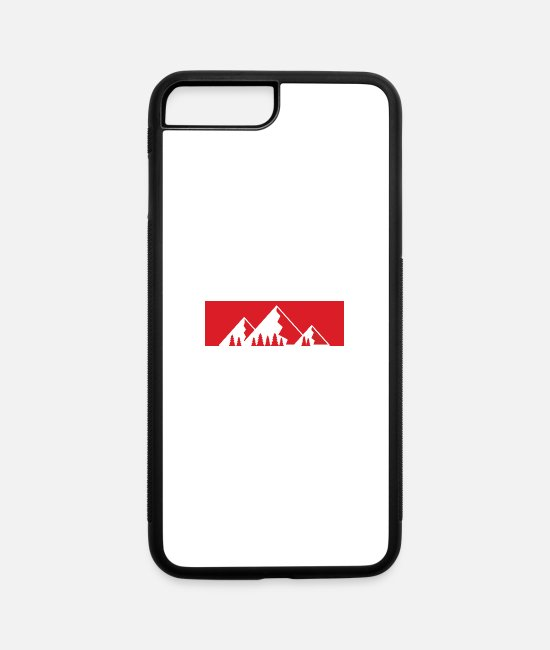Red iPhone Cases - Red Bar Mountains with firs - iPhone 7 & 8 Plus Case white/black