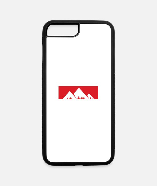 Mountains iPhone Cases - Red Bar Mountains with firs - iPhone 7 & 8 Plus Case white/black