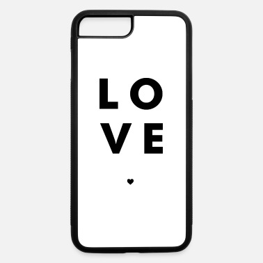 Valentine's Day Love Stacked w/ A Heart (Black Letters) - iPhone 7 & 8 Plus Case