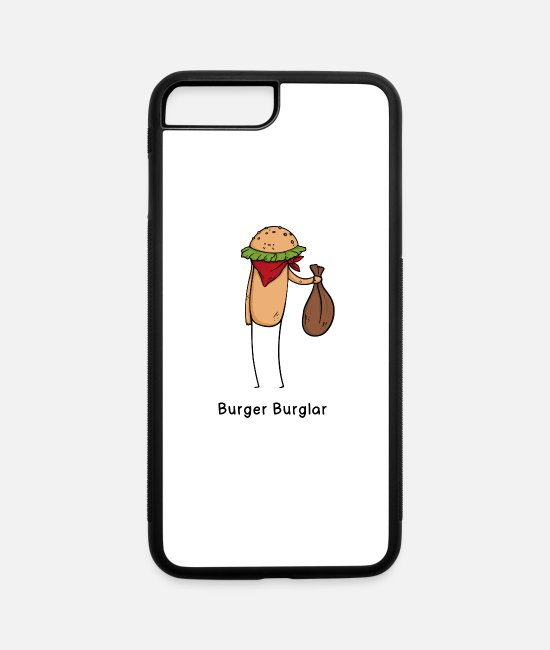 Burger iPhone Cases - Burger Burglar Criminal Joke Fun Shirt - iPhone 7 & 8 Plus Case white/black