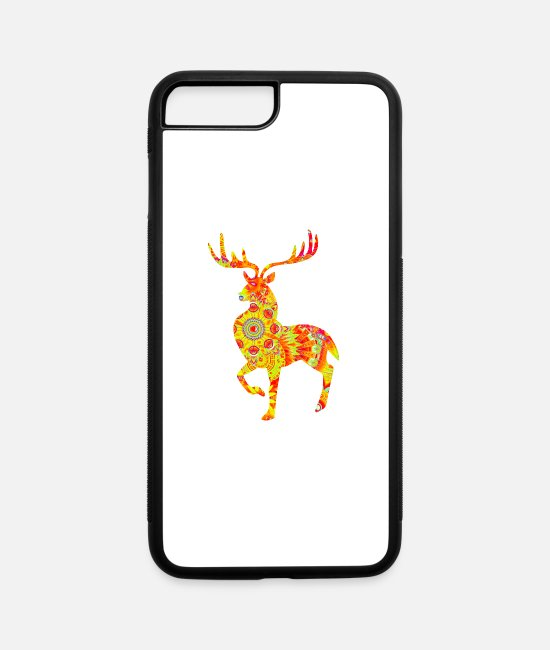 Stag iPhone Cases - silhouette of beautiful stag deer, ethnic pattern - iPhone 7 & 8 Plus Case white/black