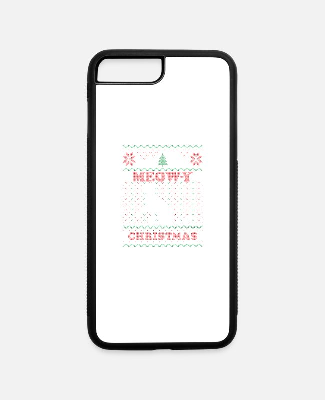 Holy Night iPhone Cases - Meowy Ugly Chrismtas Sweater Cat Pun Gift - iPhone 7 & 8 Plus Case white/black