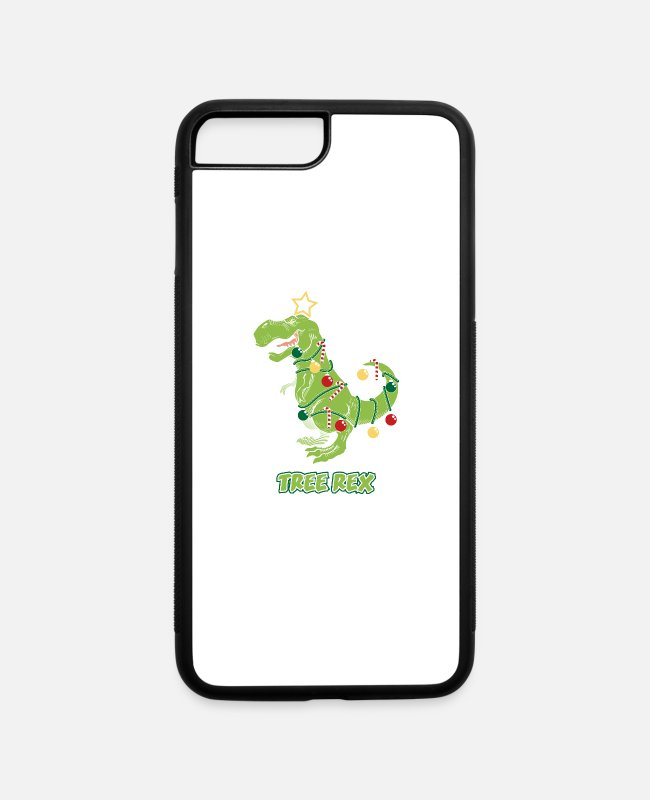 Dinosaurs iPhone Cases - Tree Rex Dinosaur Christmas Costume Party Gift - iPhone 7 & 8 Plus Case white/black