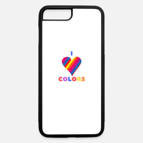 Beautiful iPhone Cases - Colorful color heart design - iPhone 7 & 8 Plus Case white/black