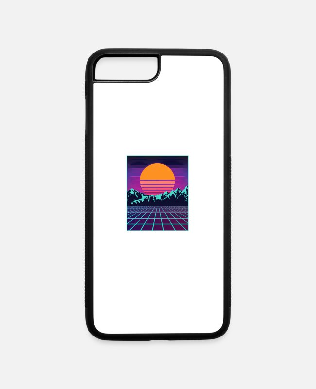 Aesthetic iPhone Cases - Retro 80s Aesthetic Vaporwave Outrun Style Sun - iPhone 7 & 8 Plus Case white/black