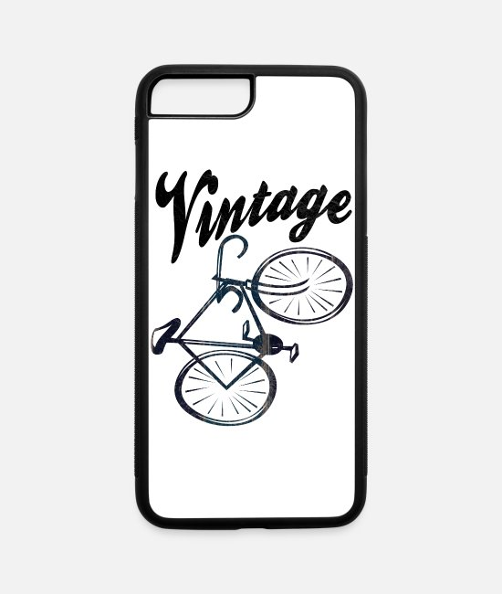 Road Bike iPhone Cases - A vintage racing bike for racing cyclists and bicy - iPhone 7 & 8 Plus Case white/black