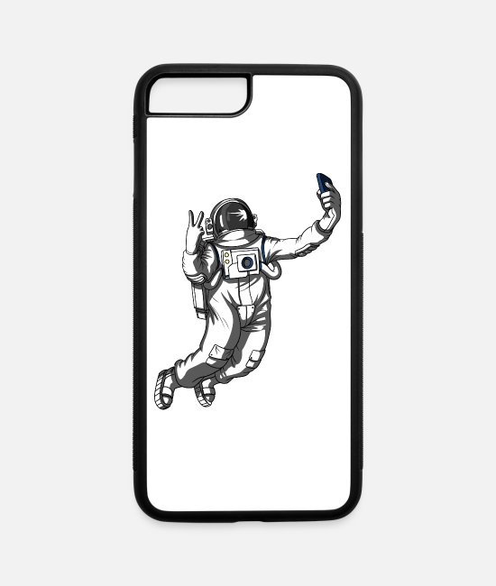 Space iPhone Cases - Space Astronaut Selfie Funny Galaxy - iPhone 7 & 8 Plus Case white/black