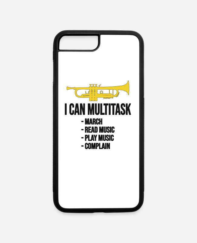 Cornet iPhone Cases - Trumpet - I can multitask! Trumpet player gift - iPhone 7 & 8 Plus Case white/black