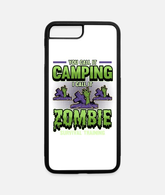 Tent iPhone Cases - Campen Camping Halloween Zombies - iPhone 7 & 8 Plus Case white/black