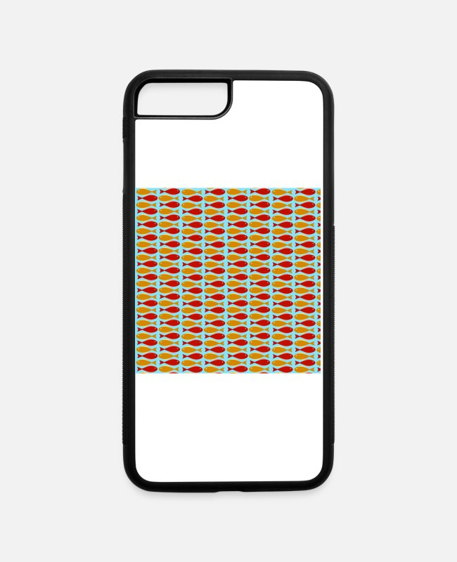Game iPhone Cases - Mid Century Modern Mod Fish Red and Orange - iPhone 7 & 8 Plus Case white/black