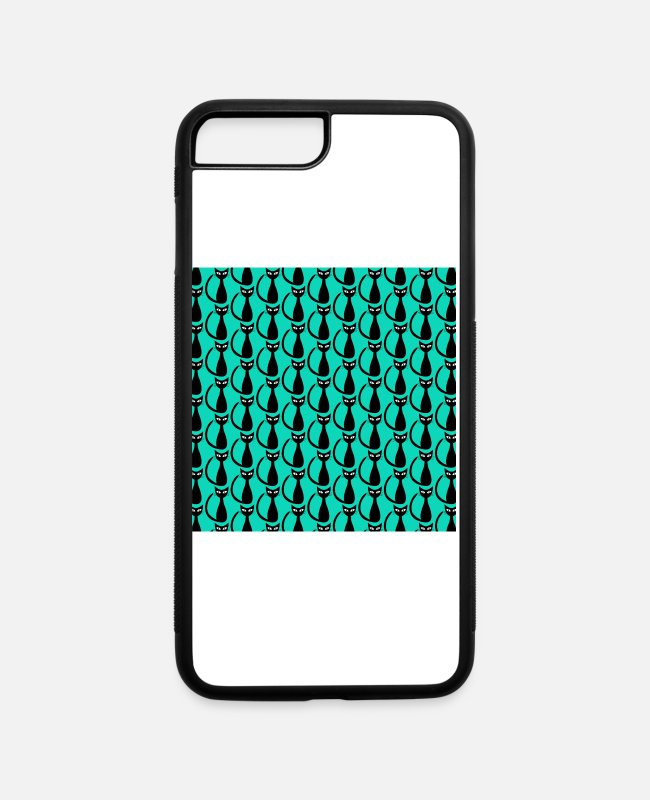 Game iPhone Cases - Mid Century Modern Mod Cats Blue - iPhone 7 & 8 Plus Case white/black