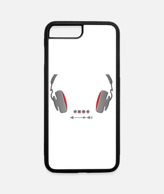Headphones iPhone Cases - Headphones with media volume control buttons - iPhone 7 & 8 Plus Case white/black
