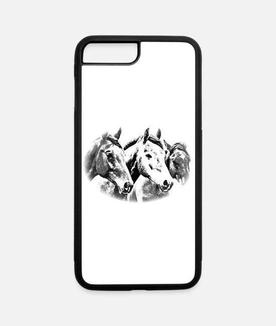 Head iPhone Cases - Horse, horse head, ride, foal, mane, saddle - iPhone 7 & 8 Plus Case white/black