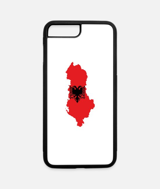 Albanian Eagle iPhone Cases - Flag map of Albania svg - iPhone 7 & 8 Plus Case white/black