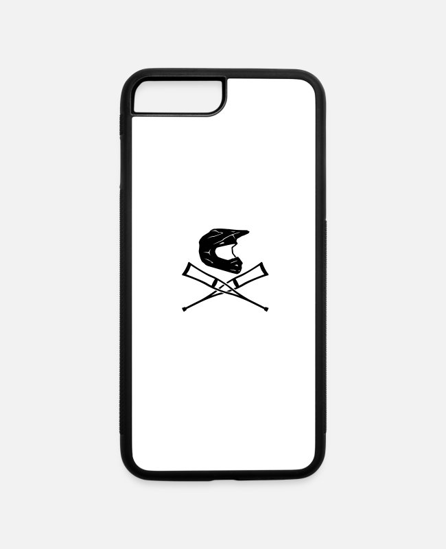Motorcycle iPhone Cases - Enduro helmet with crutches - iPhone 7 & 8 Plus Case white/black