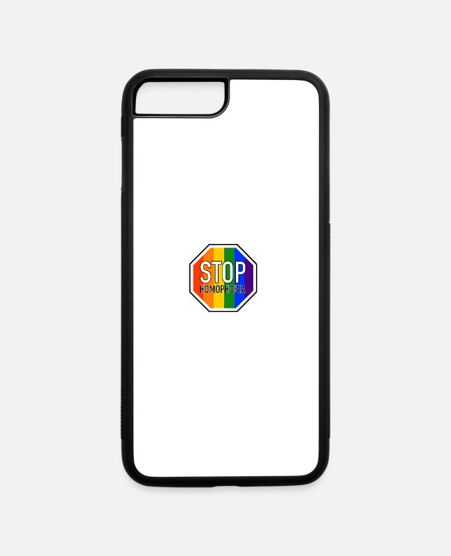 Bisexual iPhone Cases - Stop Homophobia LGBT Gay Pride CSD Sign - iPhone 7 & 8 Plus Case white/black
