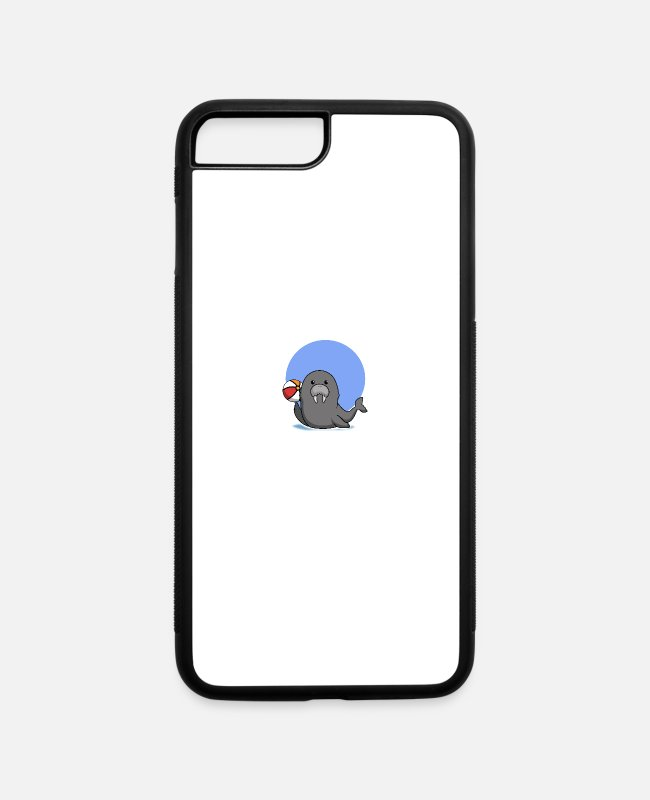 Ball iPhone Cases - Sea Lion Playing Ball Trick - iPhone 7 & 8 Plus Case white/black