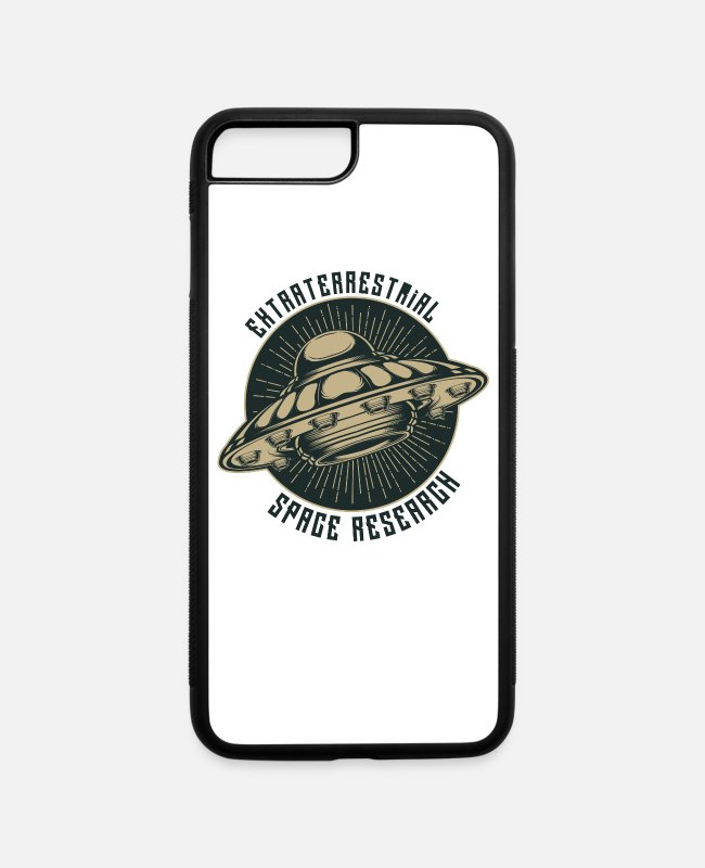 Space iPhone Cases - Cool UFO Alien Unidentfied Flying Object Space - iPhone 7 & 8 Plus Case white/black
