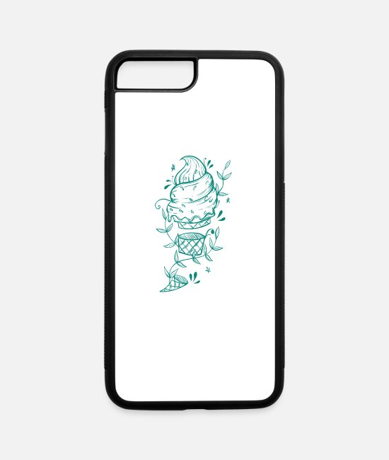 Water iPhone Cases - Soft ice cream with tendril plants - iPhone 7 & 8 Plus Case white/black