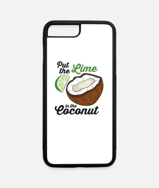 Palm Trees iPhone Cases - Put The Lime In The Coconut Vacation Beach Lime - iPhone 7 & 8 Plus Case white/black