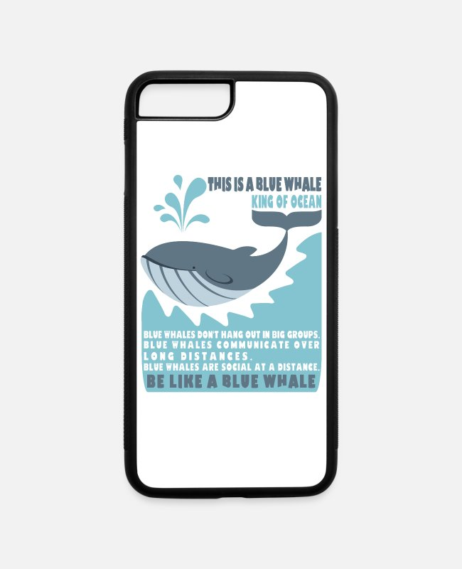 Virus iPhone Cases - Blue whale Social Distancing Pandemic Sarcasm Gift - iPhone 7 & 8 Plus Case white/black