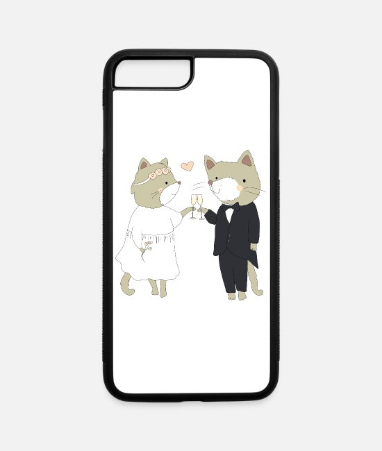 Bachelorette iPhone Cases - Bride and Groom Cats - iPhone 7 & 8 Plus Case white/black