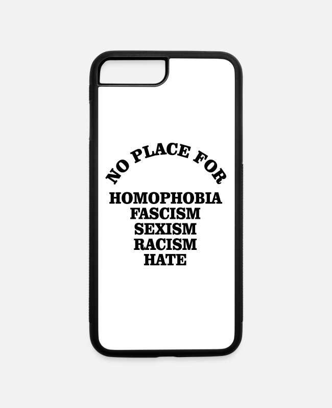 Christmas iPhone Cases - No Place for Homophobia Fascism Anti Racism - iPhone 7 & 8 Plus Case white/black