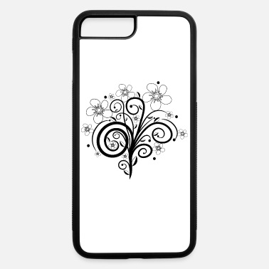 black flower tendril, bloom, flowers, floral petal - iPhone 7 & 8 Plus Case