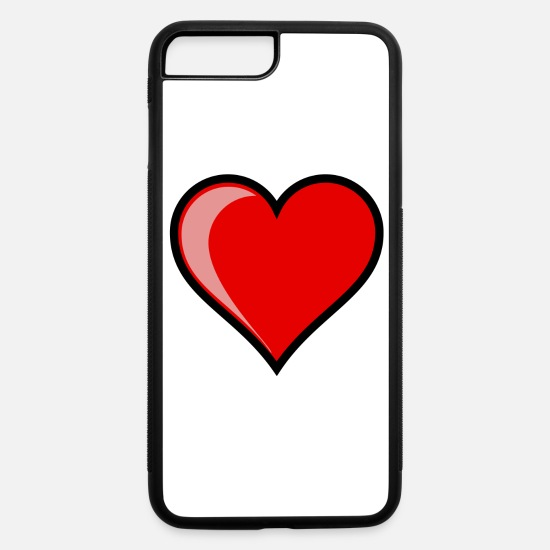 Heart iPhone Cases - RED HEART OF LOVE - iPhone 7 & 8 Plus Case white/black