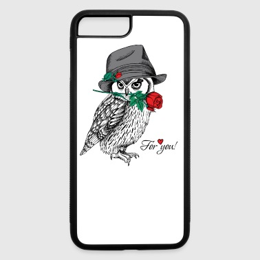 Cute owl in hat woth rose - iPhone 7 Plus/8 Plus Rubber Case