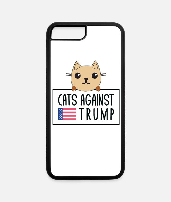 Vote iPhone Cases - Funny Anti-Trump Cats Against Trump - iPhone 7 & 8 Plus Case white/black