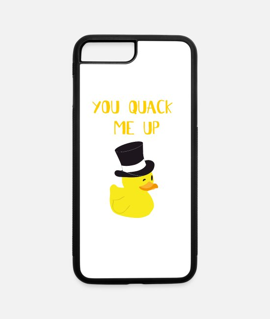 Rubber Duck iPhone Cases - You Quack Me Up - Ducky Duck Gift - iPhone 7 & 8 Plus Case white/black