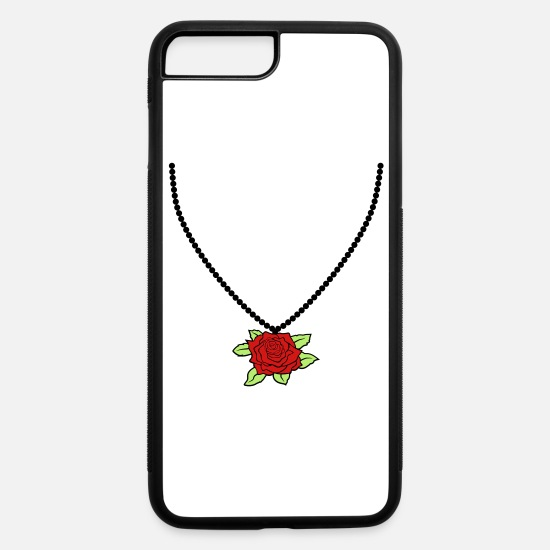 Jewelry iPhone Cases - necklace jewelry rose black silhouette flower tuli - iPhone 7 & 8 Plus Case white/black