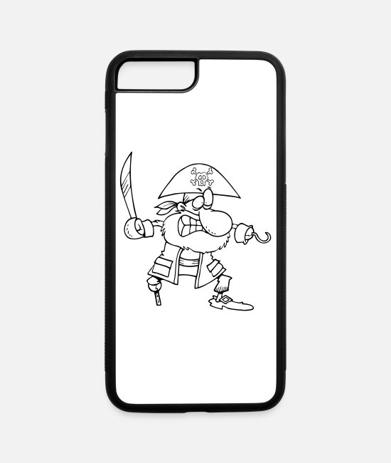Raider iPhone Cases - Pirate (outline) - iPhone 7 & 8 Plus Case white/black