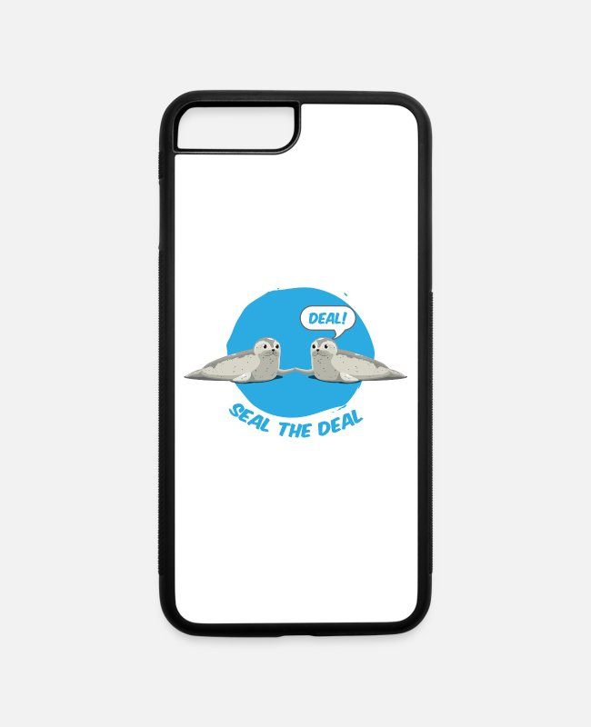 "Walrus iPhone Cases - ""Seal The Deal"" Funny Animal Pun Marine Sea Lion - iPhone 7 & 8 Plus Case white/black"