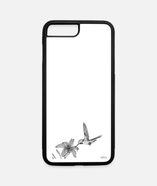 Nature iPhone Cases - Hummingbird with ruby throat - iPhone 7 & 8 Plus Case white/black