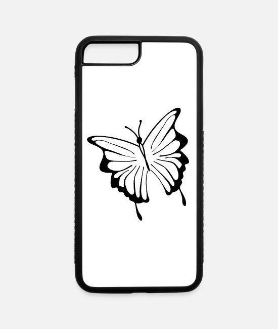 Drawing iPhone Cases - butterfly tatoo silhouette black - iPhone 7 & 8 Plus Case white/black