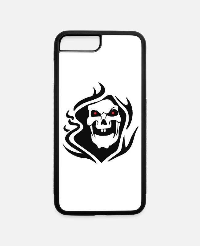 Red Deer iPhone Cases - red eye skull - iPhone 7 & 8 Plus Case white/black