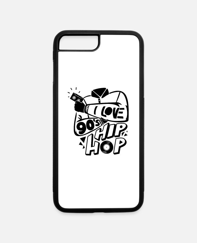 Sickofshirt iPhone Cases - Hip Hop Music 90s - iPhone 7 & 8 Plus Case white/black