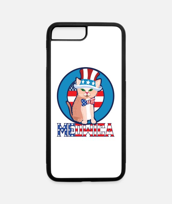 American iPhone Cases - 4th of July Meowica Cat - iPhone 7 & 8 Plus Case white/black